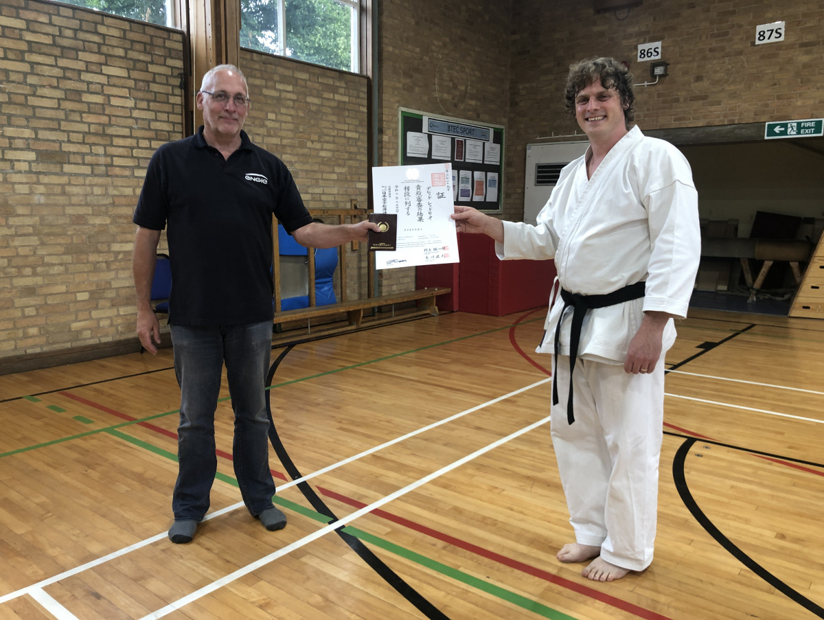 Congratulations to David - finally the certificate and belt arrive!